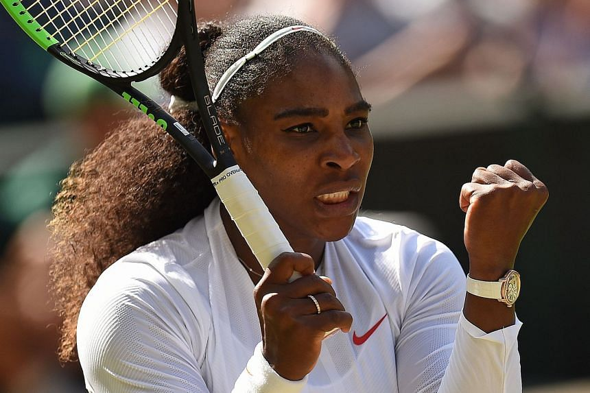 Williams celebrates breaking serve to go 3-1 up in the final set against Italy's Camila Giorgi.