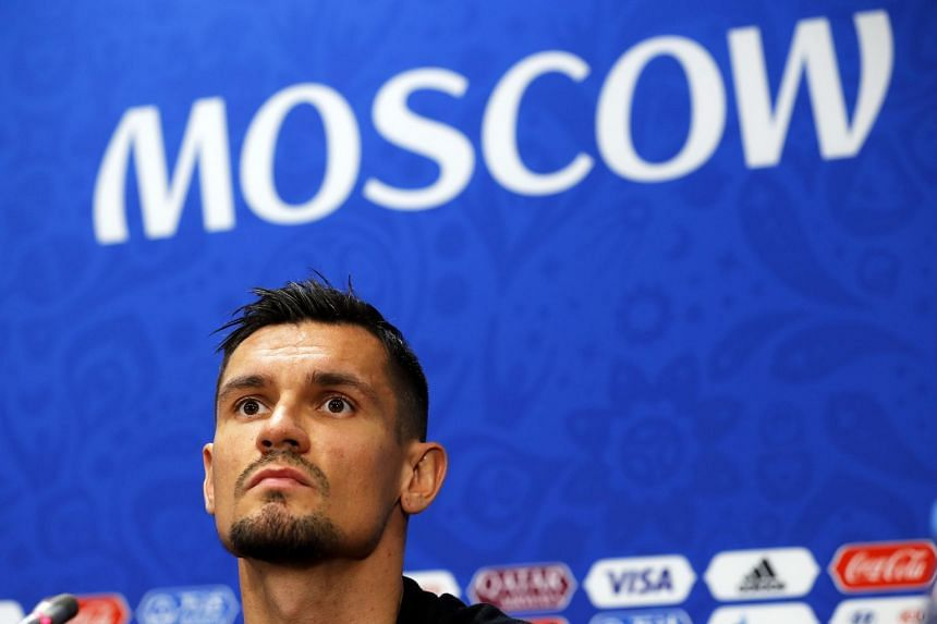 Lovren attends a press conference in Moscow, July 10, 2018.