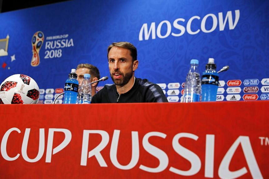 Southgate speaking during a press conference in Moscow, on July 10, 2018.