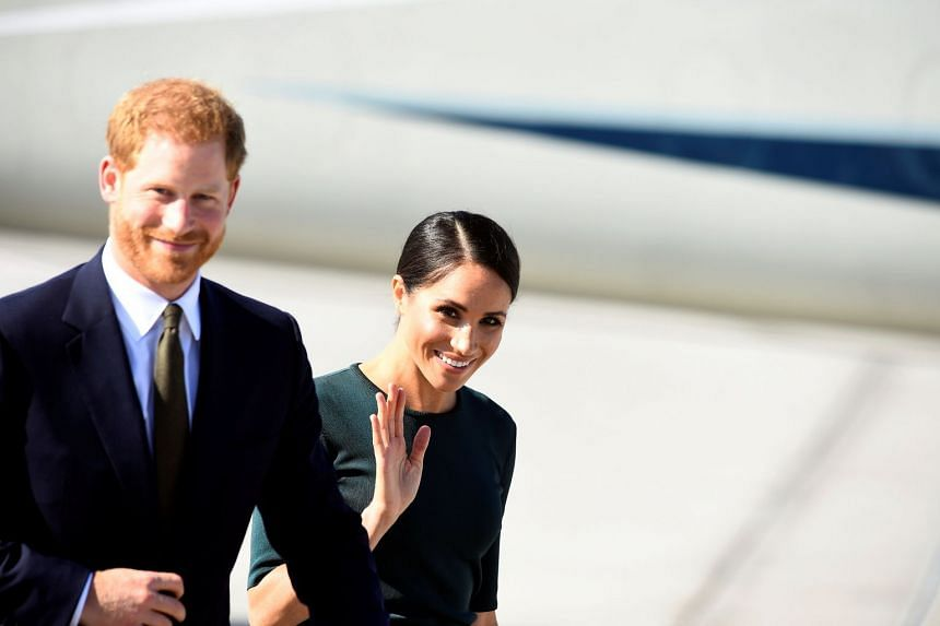 Prince Harry and his wife Meghan arrive at the airport for a two-day visit to Dublin.