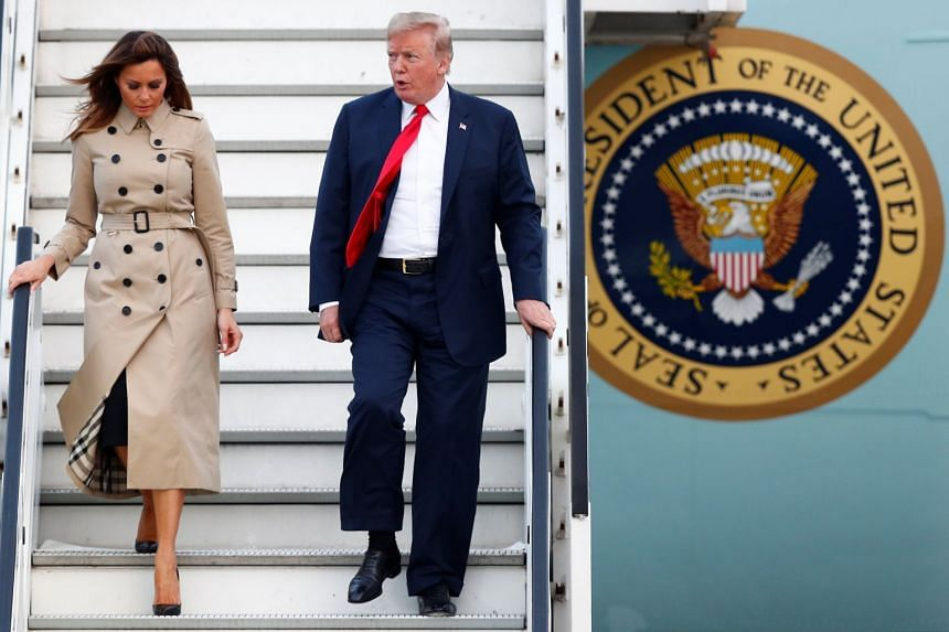 US President Donald Trump, whose fiery comments have thrown many summit leaders on the back foot, and first lady Melania Trump arriving at Belgium ahead of the Nato summit, on July 10, 2018.