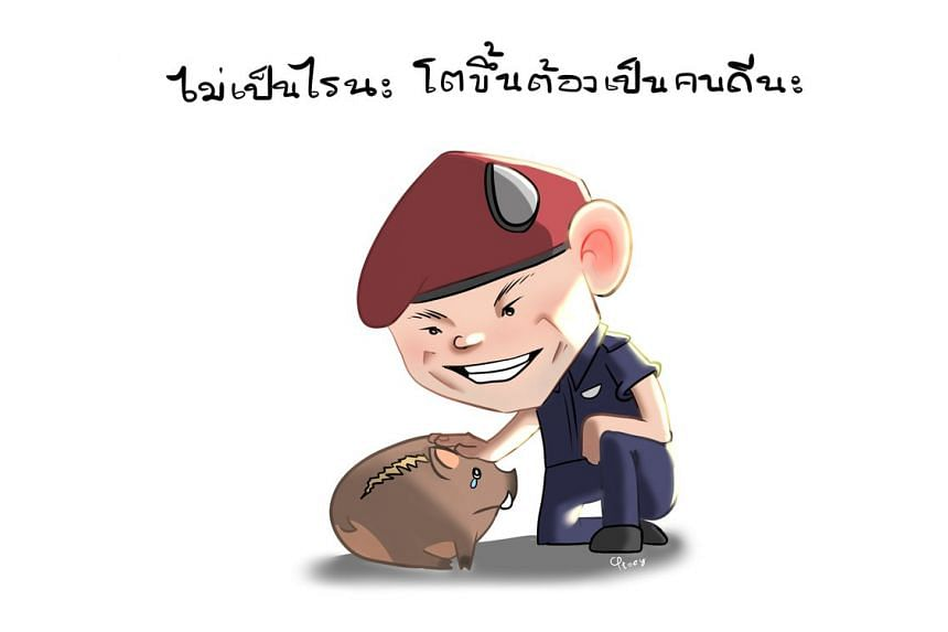 One cartoon which went viral online was that of a Navy Seal comforting a crying boar, and telling the boar in Thai to be good when he grows up.