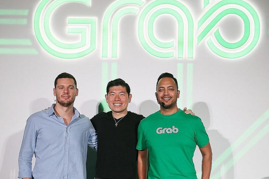 (From far left) HappyFresh CEO Guillem Segarra, Grab CEO Anthony Tan and Grab product head Jerald Singh. The two firms are partners in GrabFresh.