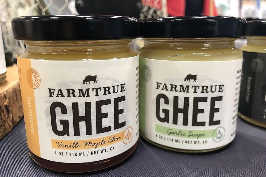 Flavoured ghee and jun kombucha, a fermented tea traditionally made using green tea and honey, at the Fancy Foods Show.