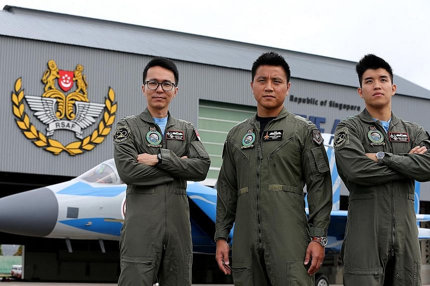 From left: Major Lloyd Lin, an F-16 pilot, with Major (NS) Freddie Lim-Ng and Captain Paul Matthew Lim, who are F-15 pilots. The trio will be participating in the Republic of Singapore Air Force flypast on National Day this year.