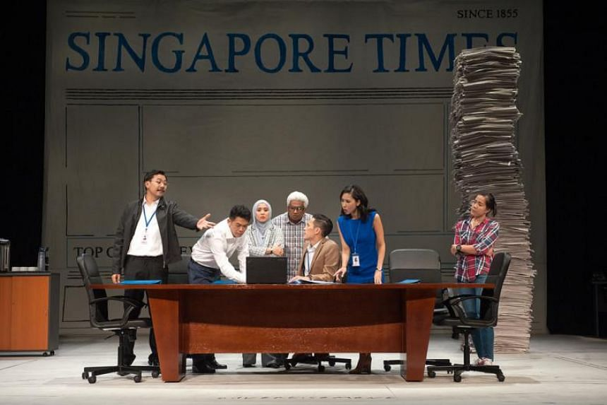 From left: Rei Poh (hand outstretched), Benjamin Chow, Oniatta Effendi, T. Sasitharan, Shane Mardjuki, Amanda Tee and Yap Yi Kai star in the play Press Gang, written by former journalist Tan Tarn How.