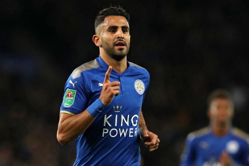 Leicester City's Algerian midfielder Riyad Mahrez celebrates after scoring during the English League Cup fourth round football match between Leicester City and Leeds United at King Power Stadium in Leicester, central England, on Oct 24, 2017.