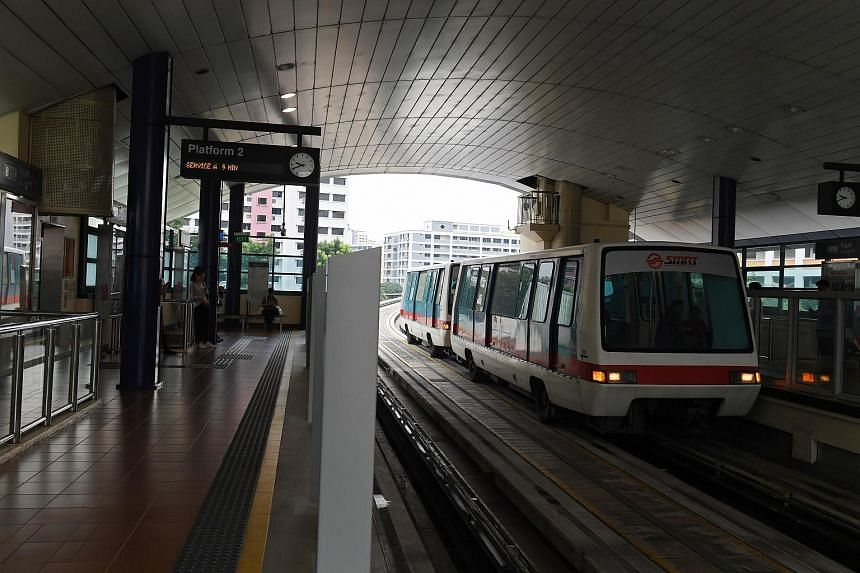File photo showing an LRT train at Fajar LRT Station in Bukit Panjang. Mr Ang Boon Tong fell on the tracks while he was walking on the station's platform, on March 24, 2017