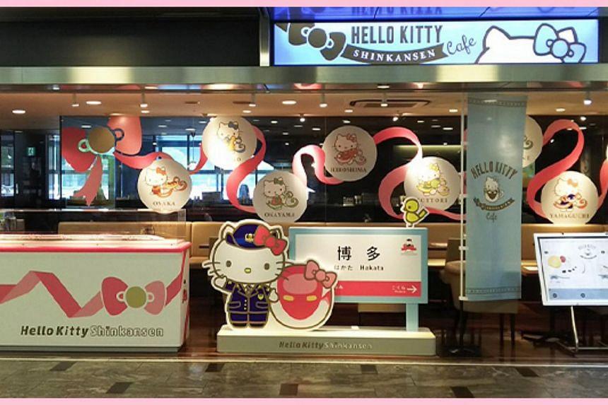 The shinkansen-themed Hello Kitty cafe at Hakata Station in Fukuoka.