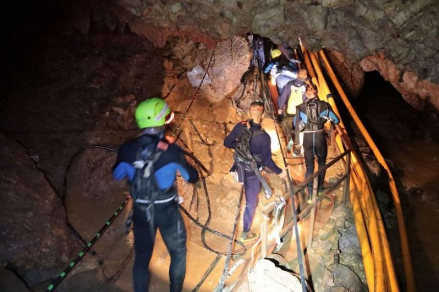 An undated handout photo showing a group of Thai Navy divers in Tham Luang cave during rescue operations for the 12 boys and their football team coach in the Mae Sai district of Chiang Rai province, Thailand.