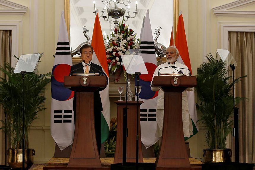South Korean President Moon Jae-in with Indian Prime Minister Narendra Modi at Hyderabad House in New Delhi.