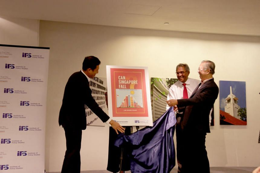 Minister for Education Ong Ye Kung,  director of the Institute of Policy Studies Janadas Devan,  and Mr Lim Siong Guan officially launch Mr Lim's latest book titled Can Singapore Fall? Making The Future For Singapore.