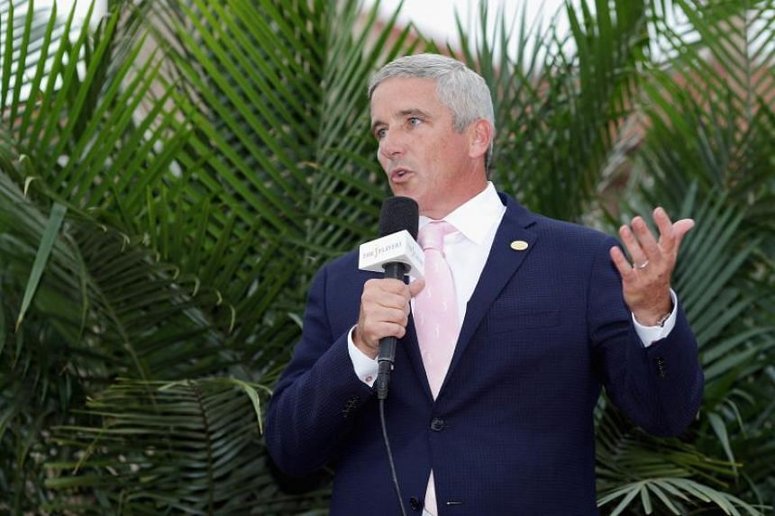 PGA Commissioner Jay Monahan speaks at the trophy presentation after the final round of The Players Championship on the Stadium Course at TPC Sawgrass on May 13, 2018 in Ponte Vedra Beach, Florida.