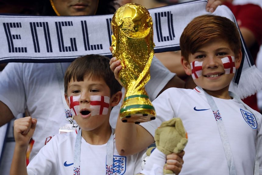 Young supporters of England prior to the Fifa World Cup 2018 semi-final between Croatia and England.