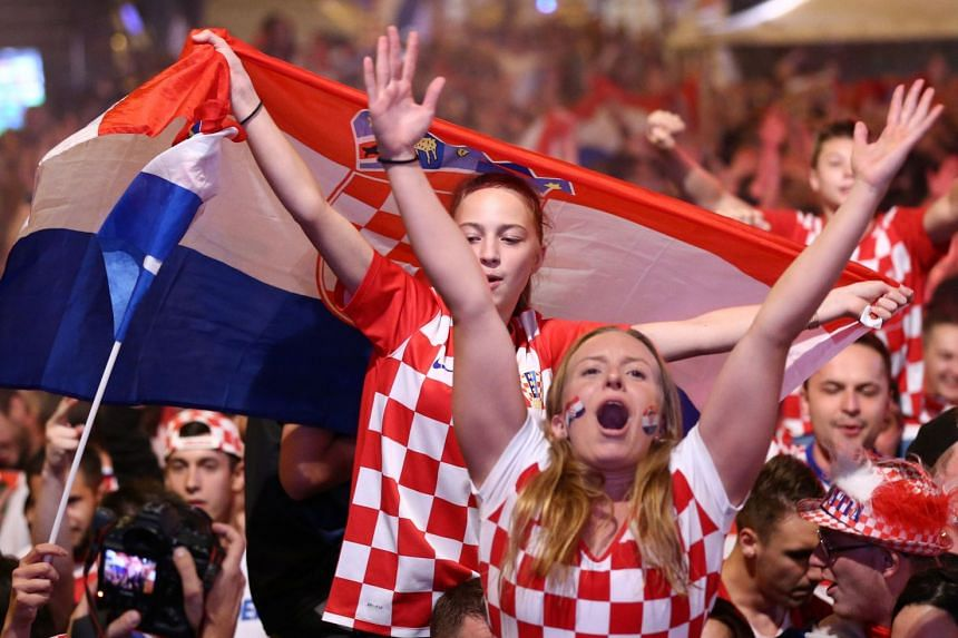 Croatia's fans watch a broadcast of the World Cup semi-final in Zagreb.