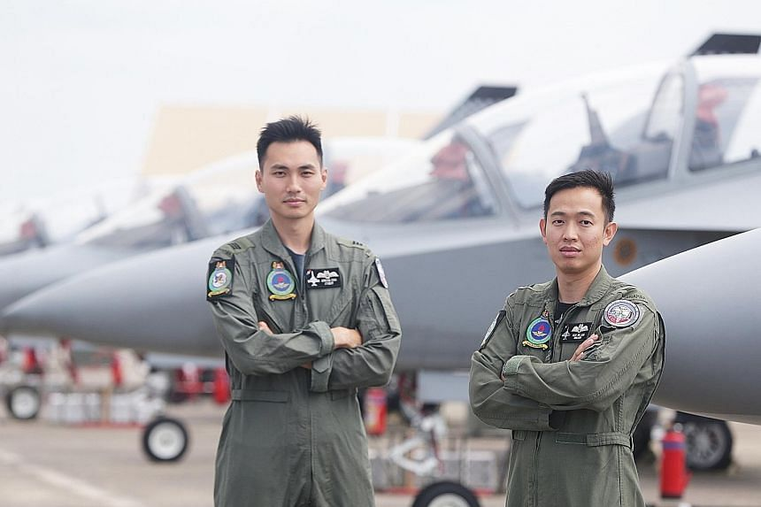 Above: Pilot trainee Lim Zhi Ler at the Cazaux Air Base, where over 180 Republic of Singapore Air Force fighter aircrew have trained in the past two decades. Below: Captains Jerevin Chia Min Feng and Yeap Wei Jiun will fly an M-346 Advanced Jet Train