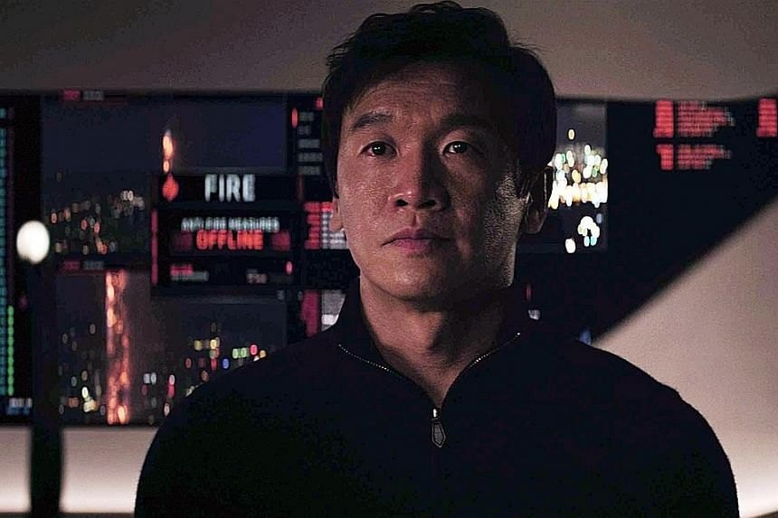 In Skyscraper, actor Ng Chin Han (above) plays a billionaire who builds the world's tallest building, while actress Hannah Quinlivan (below) plays an assassin.