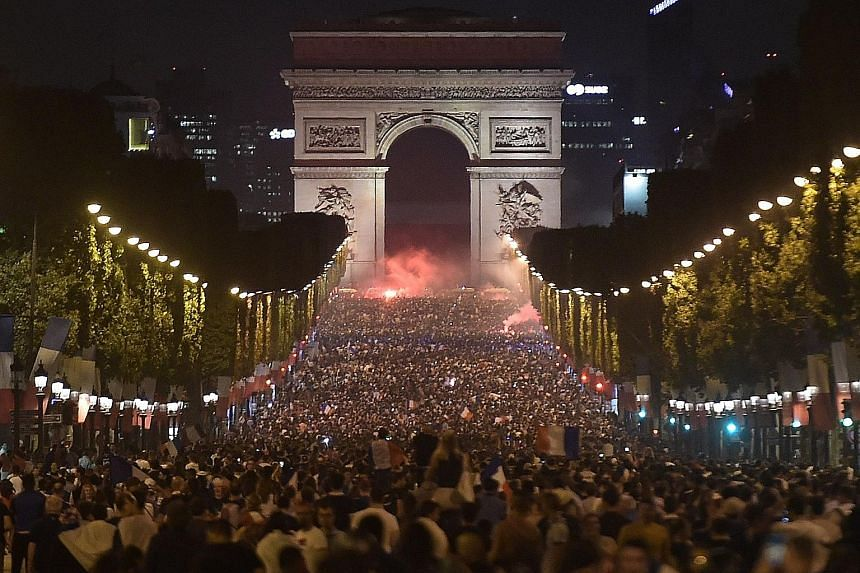 Tens of thousands of people around the Arc de Triomphe celebrating France's 1-0 World Cup semi-final victory over Belgium. Les Bleus now have the opportunity to emulate their 1998 triumph on Sunday.
