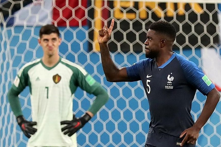 France centre-back Samuel Umtiti celebrating his goal in front of a disgruntled Belgium goalkeeper Thibaut Courtois. The French defence held strong despite conceding the majority of possession to Belgium, who failed to make inroads with their vaunted
