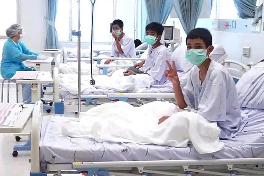 The boys are being kept in a glassed-off room in the hospital to ensure that they do not pick up any infections in their weakened state, and while they are described as recovering well, their mental and physical health continues to be monitored close