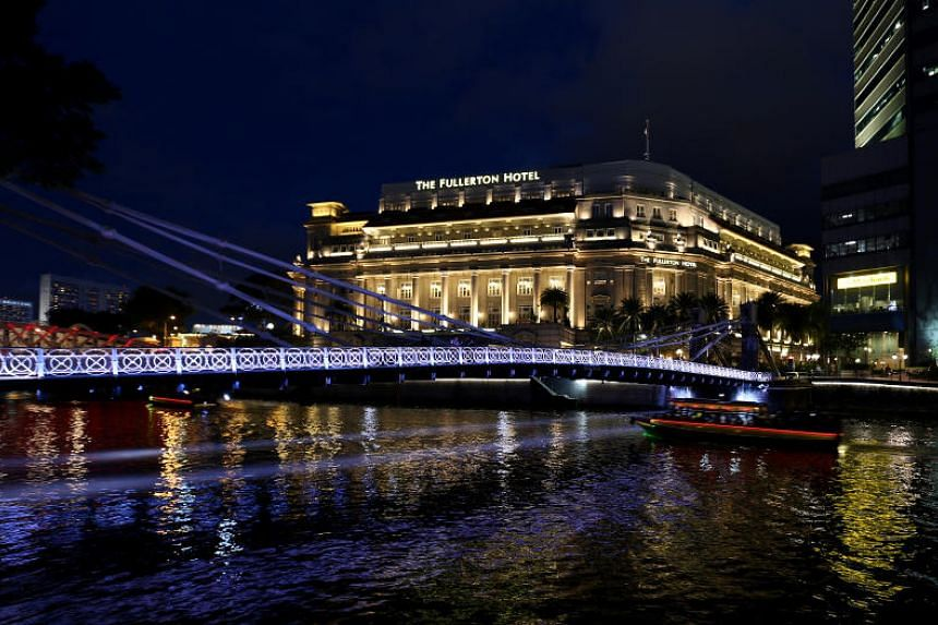 Cavenagh Bridge, which is usually lit in different colours, was lit in only purple, which is associated with royalty, for five hours on Wednesday night (July 11).