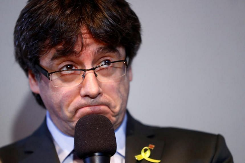 Catalonia's former leader Carles Puigdemont at a news conference in Berlin, Germany, on April 7, 2018.