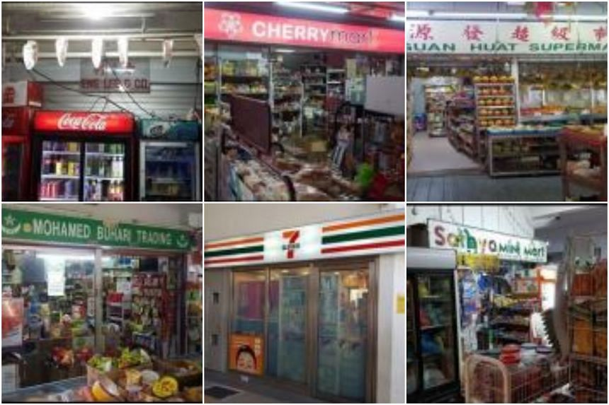 Clockwise from top left: Eng Lee & Co, Hla Lay New, Kee Guan Huat Supermarket, Mohamed Buhari Trading, 7-Eleven at Simei MRT Station and Sathya Mini Mart.