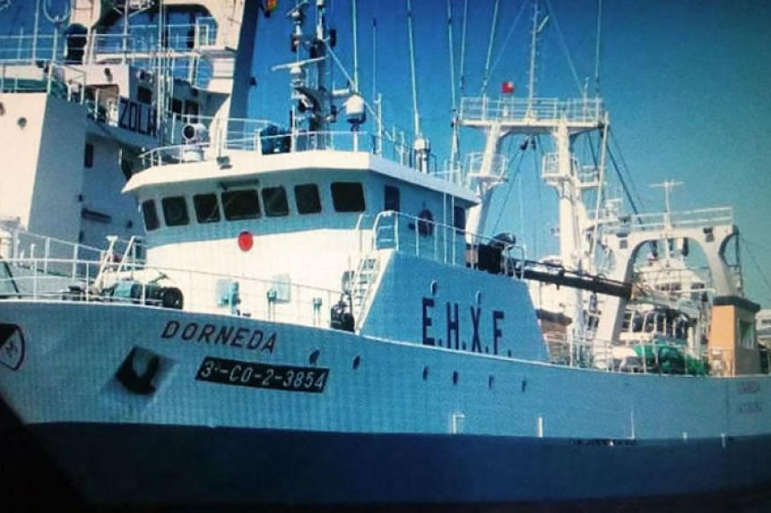 "This undated and unlocated handout picture released by the Argentine Navy shows Spanish fishing vessel ""Dorneda"" which sunk off Argentina, on July 11, 2018."