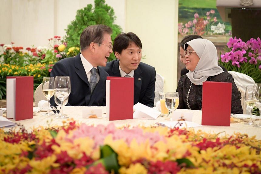 President Halimah Yacob hosts South Korean President Moon Jae-in to a state banquet at the Istana on July 12, 2018.