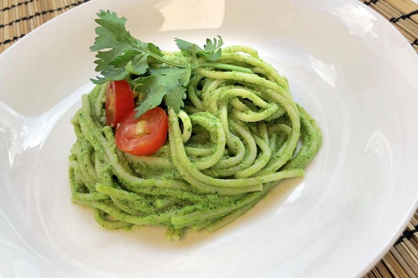 Brown rice pasta with coriander chilli macadamia pesto.