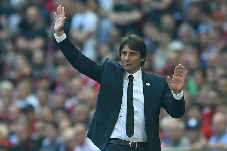 Chelsea manager Antonio Conte on the touchline during the English FA Cup final match against Manchester United at Wembley Stadium on May 19, 2018.