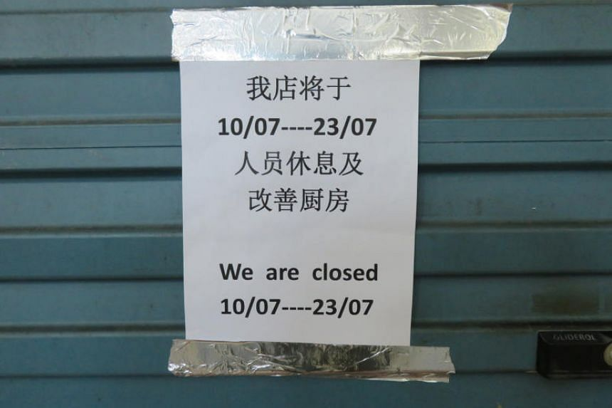 A notice in Chinese said the stall was closed for two weeks while the kitchen undergoes improvement works.