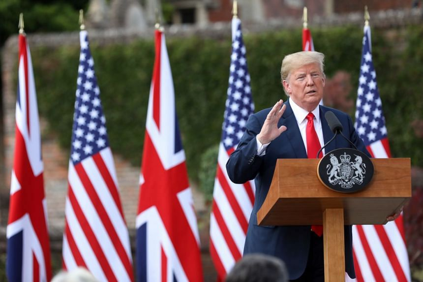 Trump speaking during a joint news conference with British Prime Minister Theresa May.