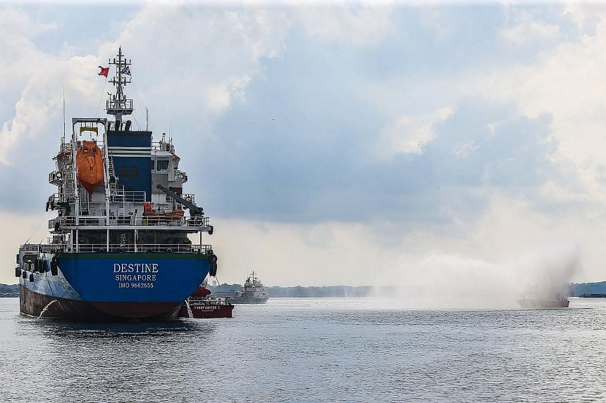 Singapore and Malaysia's marine authorities carried out a simulation of how they would deal with a collision between two tankers that sends 500 tonnes of a highly flammable chemical into the sea. The exercise also simulated a response to a gas leak t