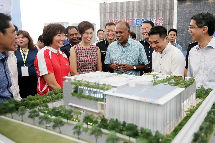 Front row, from left: Senior Minister of State Maliki Osman, MP Lee Bee Wah, Manpower Minister Josephine Teo, Law and Home Affairs Minister K. Shanmugam, DP Architects director Ng San Son, and Senior Parliamentary Secretary Muhammad Faishal Ibrahim v