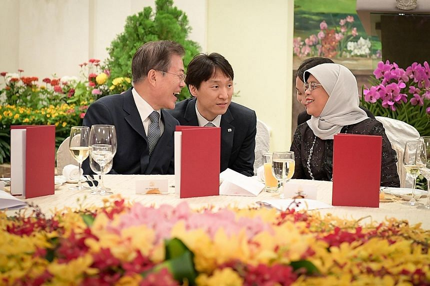 South Korean President Moon Jae-in at a state banquet hosted by President Halimah Yacob at the Istana last night.