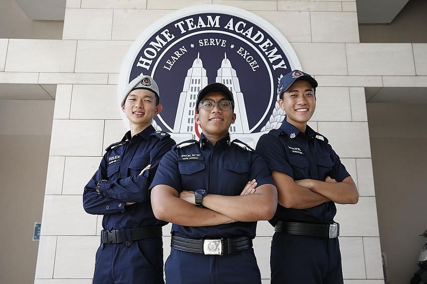 From left: NSFs of the Year Inspector (NS) Melvin Ong and Sergeant (NS) Hafiz Mohamad Hamzah, and the recipient of the Police National Service Statuette Award for the overall best trainee, Trainee Special Constable Douglas Choi.