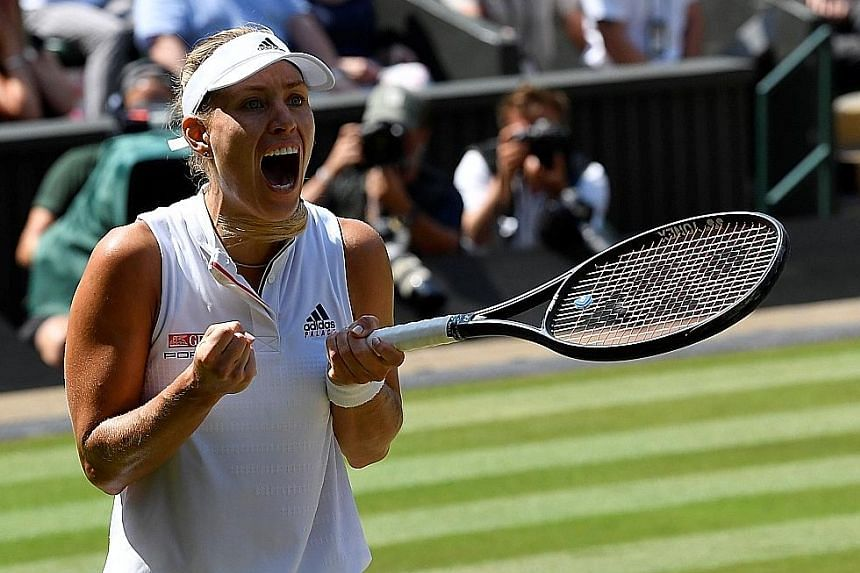 An ecstatic Angelique Kerber after beating Latvia's Jelena Ostapenko 6-3, 6-3 in their semi-final. The German is pleased with her form despite a disappointing season last year.