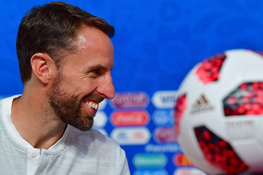 Southgate holding a press conference on the eve of the match against Belgium.