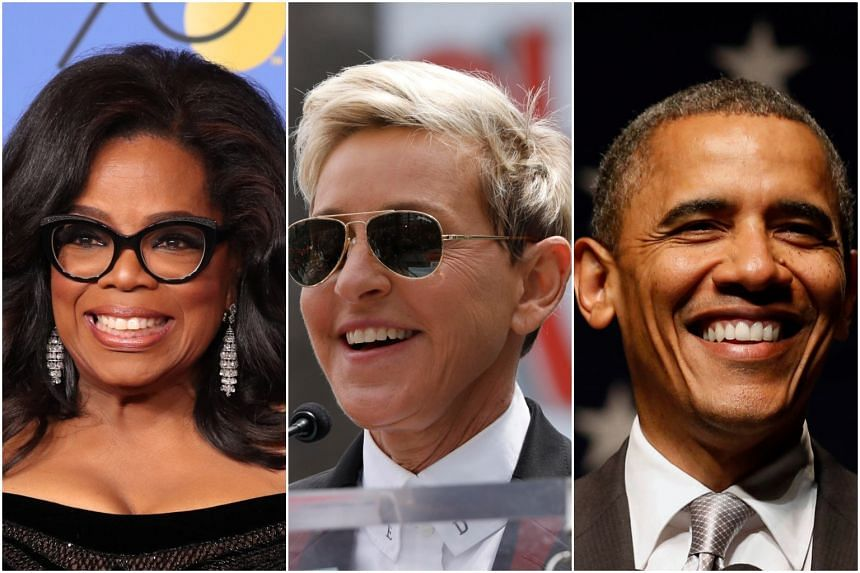 From left: Oprah Winfrey, Ellen DeGeneres, and Barack Obama were some of the high-profile names who lost millions of fake Twitter followers, on July 12, 2018. 