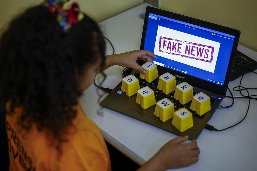 A student of the Unified Educational Centers attending a lesson on fake news in Sao Paulo, Brazil, where media analysis is now a compulsory subject, on, June 21, 2018.