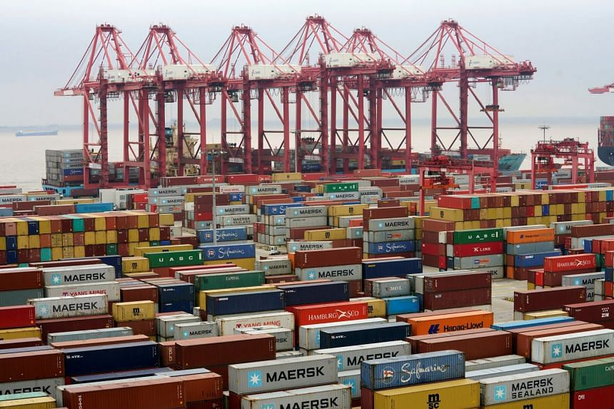 Containers at the Yangshan Deep Water Port in Shanghai, China, on April 24, 2018.