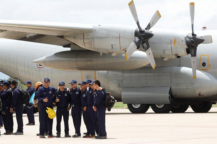 Thai navy personnel ready to depart from Chiang Rai International Airport after the finished rescue mission, on July 12, 2018.