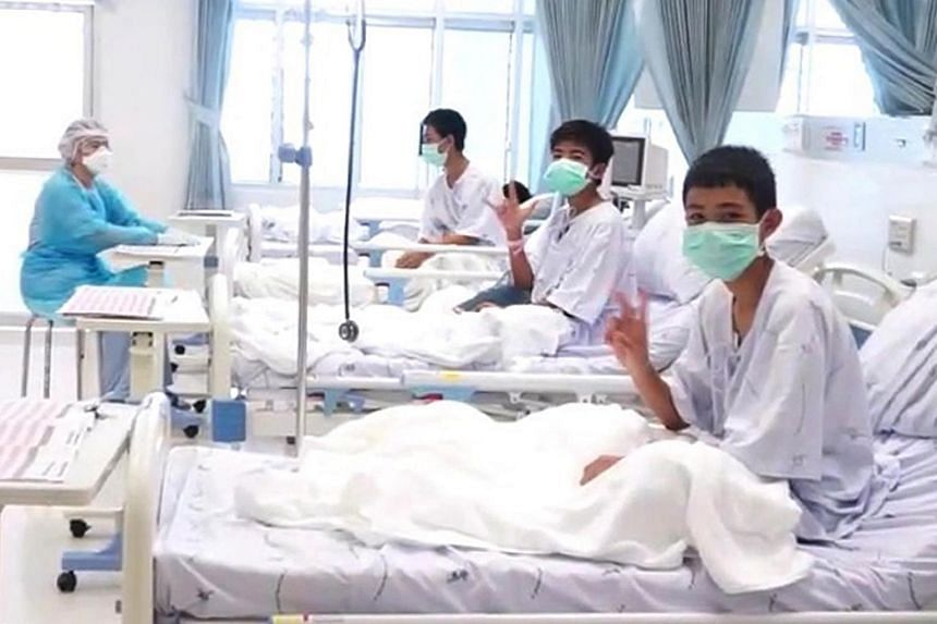 Boys from the Wild Boar football team being treated after rescued from a cave, at the hospital in Chiang Rai province, Thailand, on July 11, 2018.