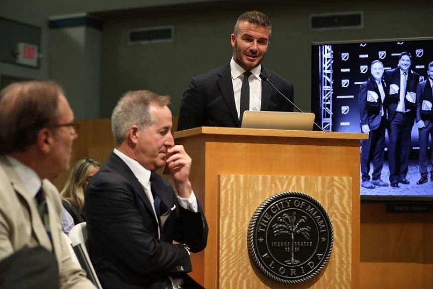 David Beckham speaks during a meeting at the City of Miami City Hall about building a Major League football stadium on a public golf course on July 12, 2018.