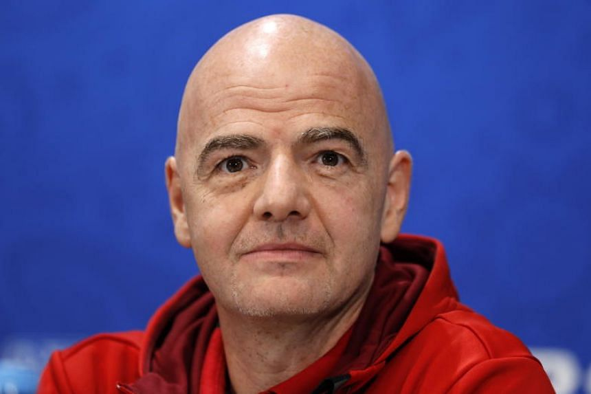 Fifa president Gianni Infantino at a press conference in Moscow on July 13, 2018.