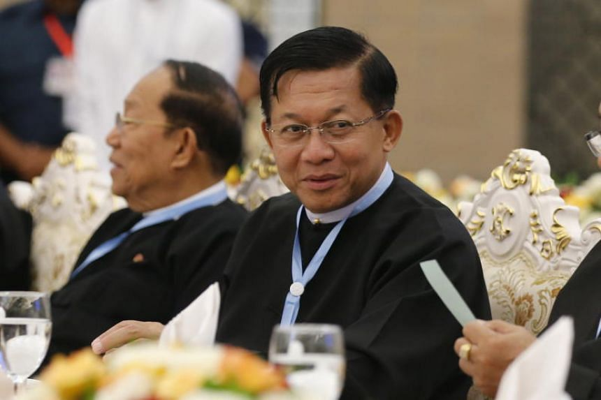 Myanmar's Senior General Min Aung Hlaing at a dinner of the third session of the 'Union Peace Conference - 21st century Panglong' in Naypyitaw, Myanmar, on July 11, 2018.