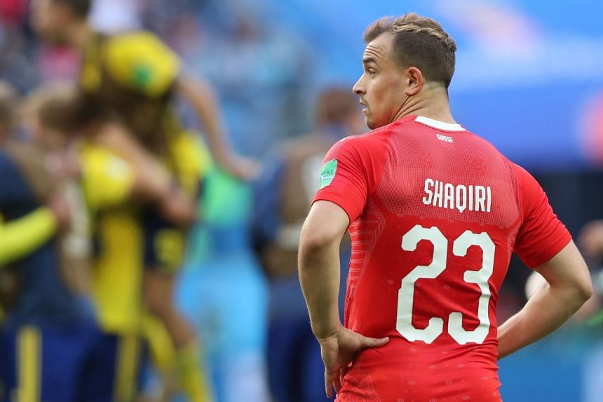 Xherdan Shaqiri of Switzerland on the pitch against Sweden during the World Cup in Russia.