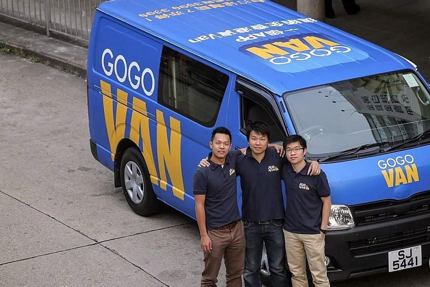 GoGoVan founders (from left) Nick Tang, Reeve Kwan and Steven Lam. The US$250 million (S$342 million) raised is the Hong Kong-based start-up's largest funding to date, having raised only US$26.5 million in total since its set-up in 2013.