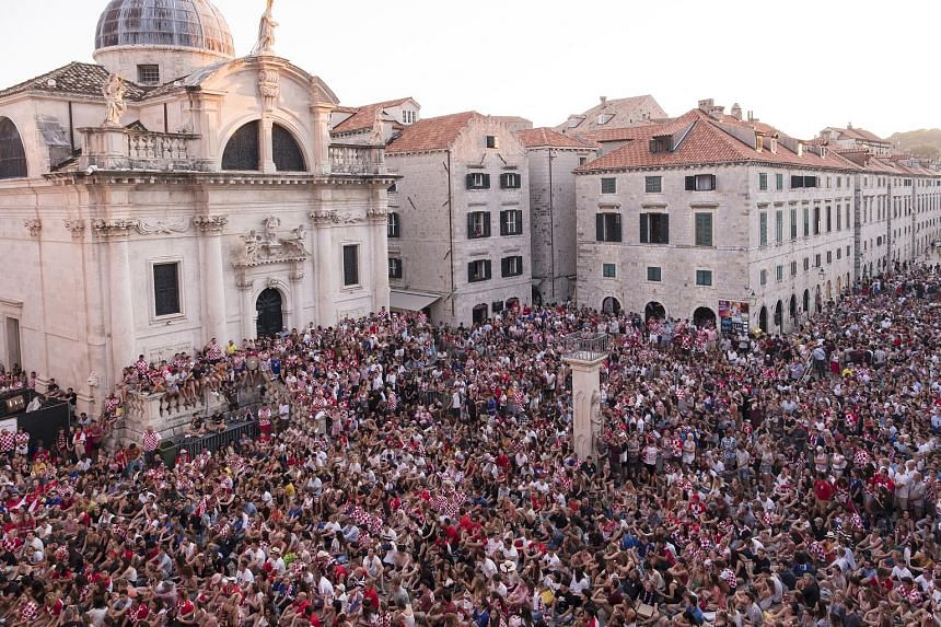 Fans packing Stradun Square in the old quarter of Dubrovnik to watch Croatia's World Cup semifinal with England on Wednesday.